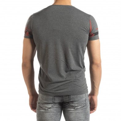 Мъжка тениска с принт в сив меланж it150419-102 3