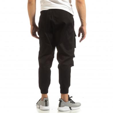 Cropped мъжки черен панталон с джобове it090519-20 3