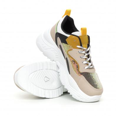Chunky дамски маратонки с жълти акценти it130819-57 4