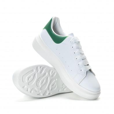 Мъжки бели кецове зелена пета it190219-5 4