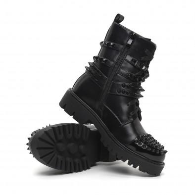 Рокерски дамски черни боти полирана кожа it260919-89 4
