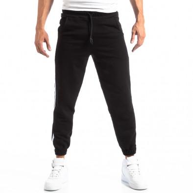 Мъжки черен Jogger с бели кантове it250918-49 3