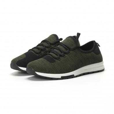 Леки текстилни мъжки маратонки в зелен меланж it250119-13 3