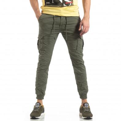 Зелен карго панталон с трикотажни маншети it210319-20 3