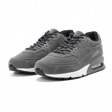 Велурени мъжки Air маратонки в сиво it140918-28 3