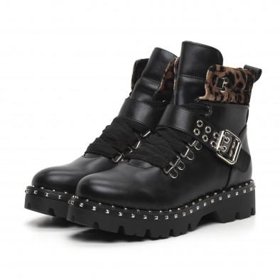 Дамски боти Trekking design в черно и леопард it260919-85 3