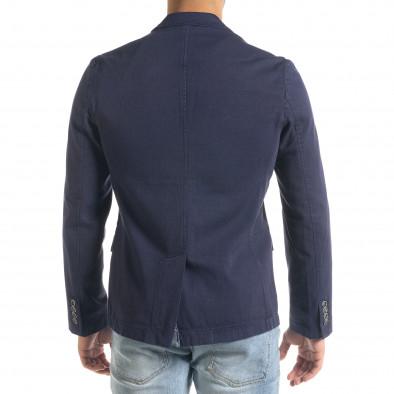 Slim fit синьо сако от памучно пике it240420-4 4