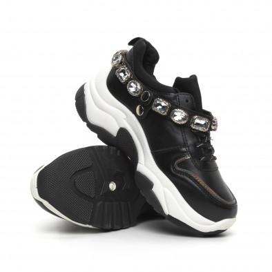Черни дамски маратонки с камъни it260919-62 5
