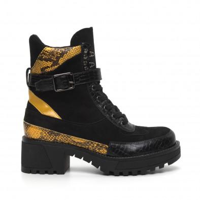 Дамски черни боти Snake в жълто it260919-82 2