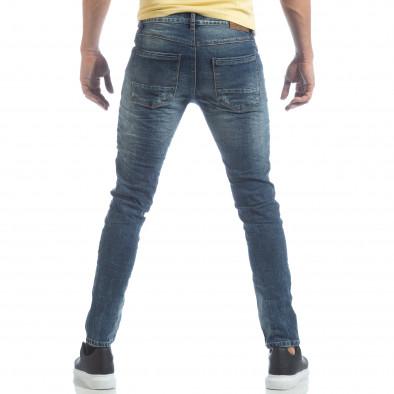Сини мъжки Washed Jeans с кръпки it040219-10 3