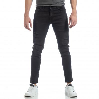 Черни мъжки дънки Slim fit с прокъсвания it040219-4 3