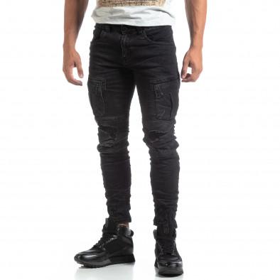 Мъжки черни Cargo Jeans рокерски стил it170819-53 3