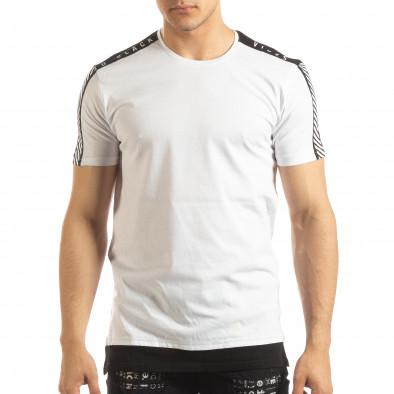 Бяла мъжка тениска с черно удължение it150419-84 3