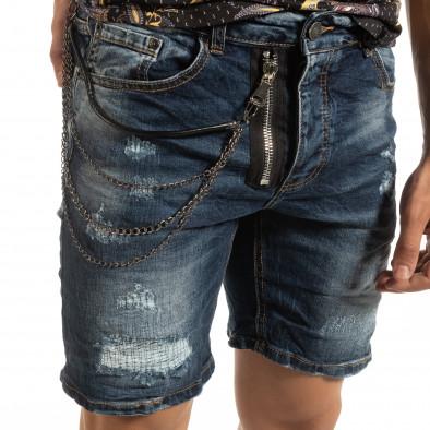Прокъсани мъжки къси дънки със синджир it090519-44 4