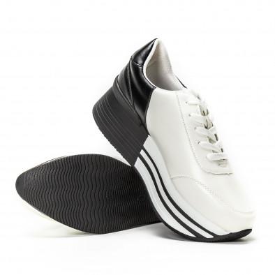 Черно-бели дамски маратонки на платформа it150818-72 4
