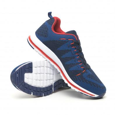 Плетени мъжки маратонки в синьо и червено it251019-6 5