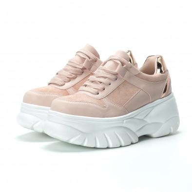 Chunky дамски маратонки в розово на платформа it250119-50 4