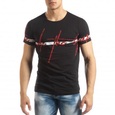 Мъжка тениска с принт в черно it150419-103 2