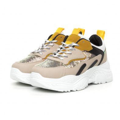 Chunky дамски маратонки с жълти акценти it130819-57 3