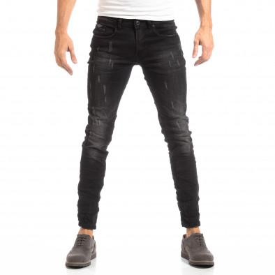 Намачкани мъжки дънки в черно Slim fit it261018-9 3