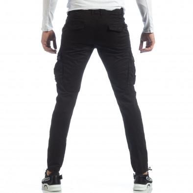 Черен мъжки панталон с карго джобове it040219-40 3