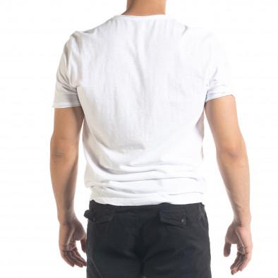 Бяла мъжка тениска от памук и лен it240420-6 3