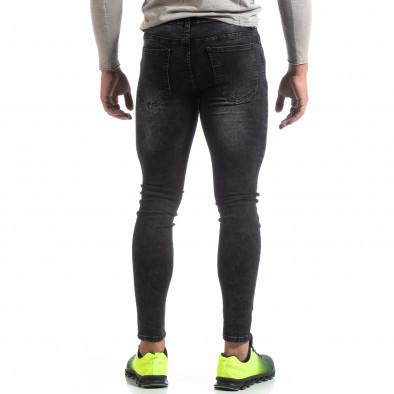 Skinny мъжки черни изтъркани дънки it170819-43 3