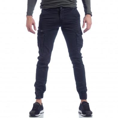 Син карго панталон с ципове на крачолите it040219-126 2