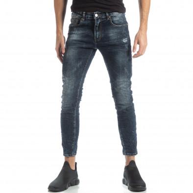 Мъжки сини дънки с износен ефект it051218-10 2