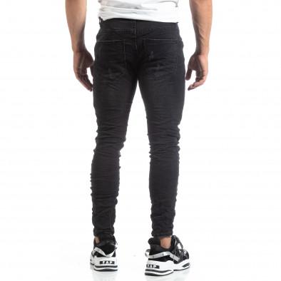 Slim fit мъжки черни дънки с акценти it170819-50 5