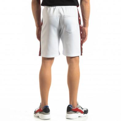 Бели мъжки шорти с кантове и звезди it150419-28 3