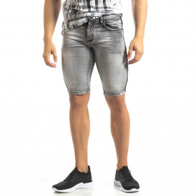 Мъжки намачкани къси дънки Slim-fit в сиво it150419-11 2