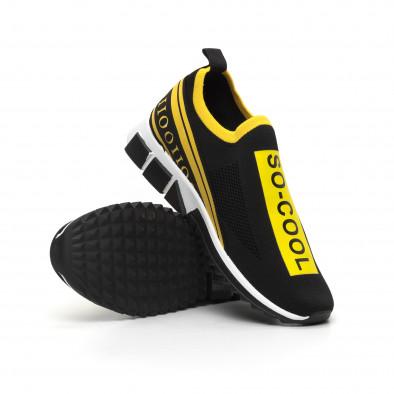 Slip-on черни мъжки маратонки жълт кант it260919-7 5