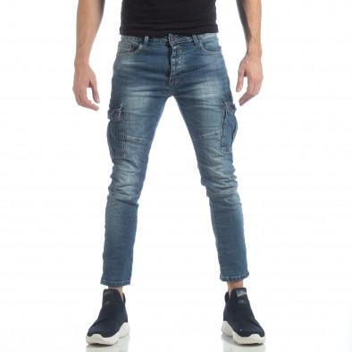 Мъжки сини намачкани карго дънки it040219-20 3