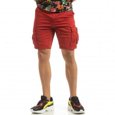 Къси карго панталони в червено с детайл it090519-27 2