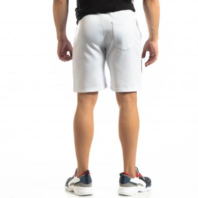 Мъжки бели шорти с ивици it150419-26 4