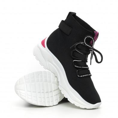 Черни дамски текстилни маратонки розов акцент it130819-42 4