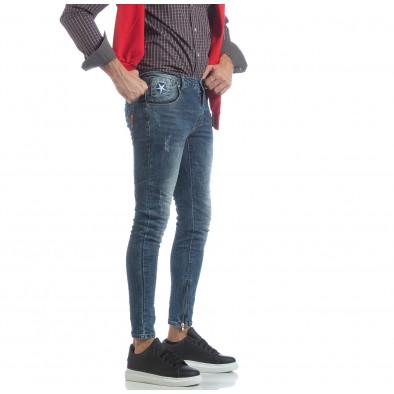 Мъжки намачкани Slim fit дънки с ципове it040219-9 2