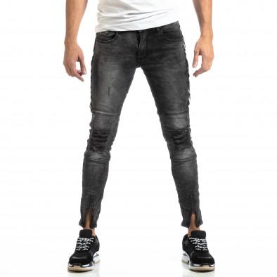 Мъжки Worn Jeans в сиво с акценти it261018-19 3