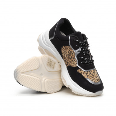 Chunky дамски маратонки в черно и леопард it240419-42 4