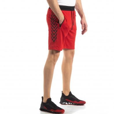 Червени мъжки шорти с ивици it210319-59 2