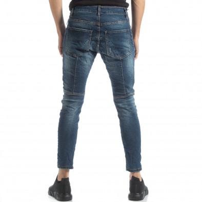Намачкани мъжки сини дънки Biker style it051218-9 4