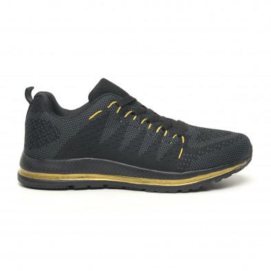 Плетени мъжки маратонки в черно и златисто it251019-5 2