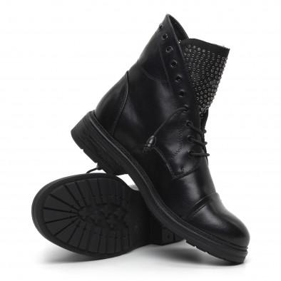 Дамски черни боти с декориран език it260919-67 5