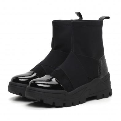 Slip-on дамски черни боти с груба подметка it260919-68 4