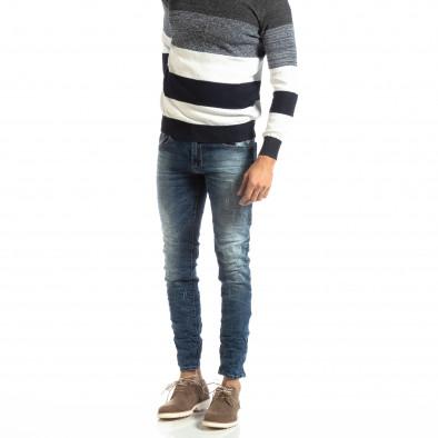 Намачкани мъжки дънки в синьо Slim fit it261018-7 2