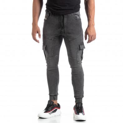 Мъжко сиво долнище тип Cargo Jeans it170819-30 2