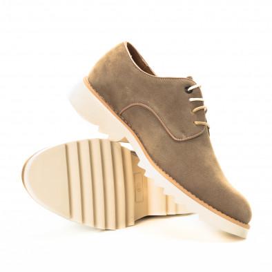 Casual мъжки обувки в бежов велур it221018-13 4