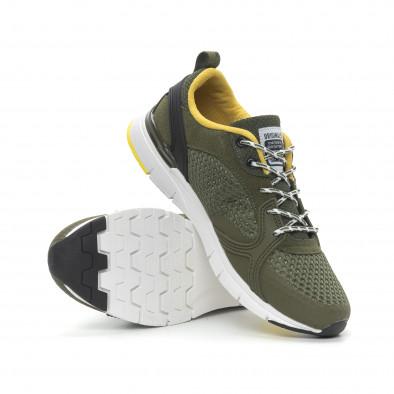 Мъжки маратонки в зелено с гумени декорации it150319-31 5