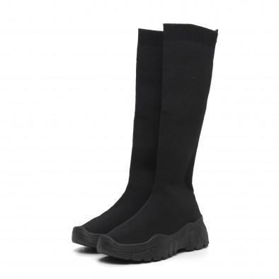 Дамски черни ботуши тип чорап it260919-65 3